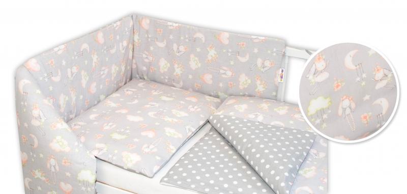 Baby Nellys 3-dílná sada - mantinel s povlečením Králíček - šedá, 135 x 100 cm