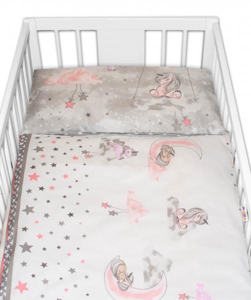 2-dílné bavlněné povlečení Baby Nellys Jednorožec - šedé, 135 x100 cm