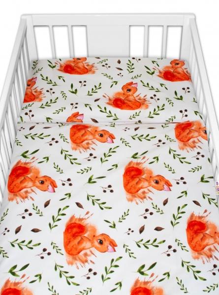 Baby Nellys 2 - dílné bavlněné povlečení - Veverka, bílé