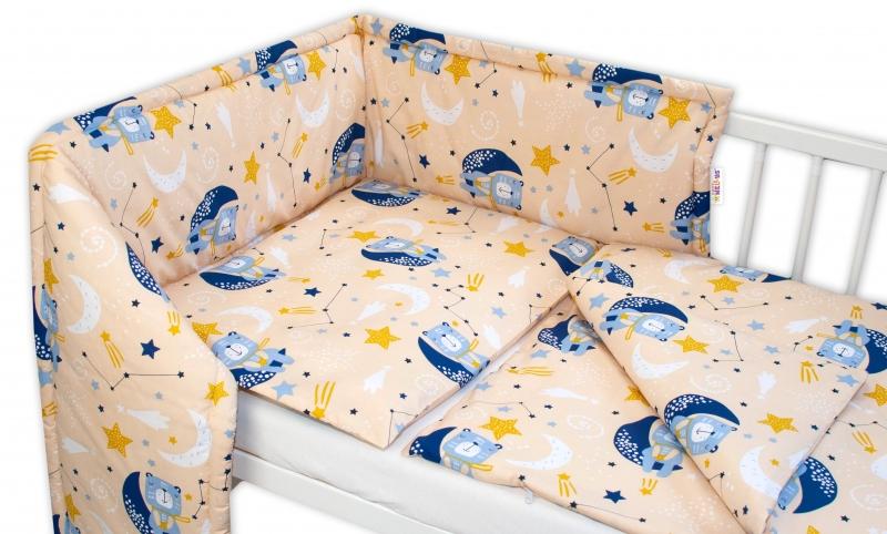 Baby Nellys 3-dílná sada Mantinel s povlečením - Medvídek a hvězdy, béžový, 135 x 100