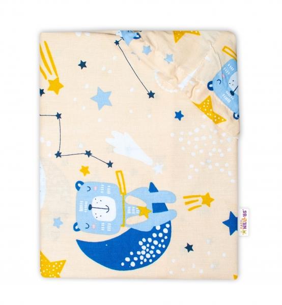 Baby Nellys Bavlněné prostěradlo 70 x 140 cm - Medvídek a hvězdy, béžové