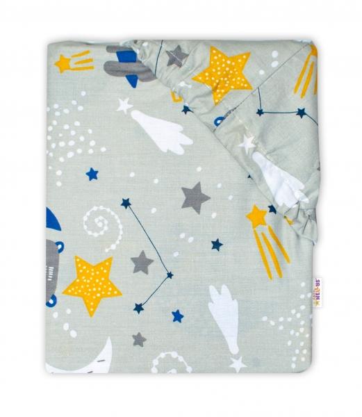 Baby Nellys Bavlněné prostěradlo 70 x 140 cm - Medvídek a hvězdy, šedé
