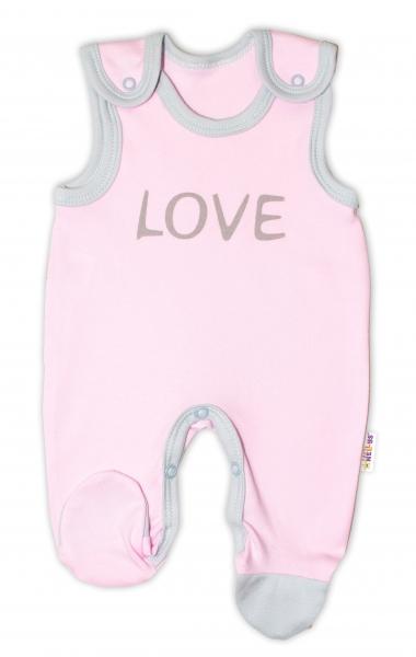 Kojenecké bavlněné dupačky Baby Nellys, Love - růžové, vel. 56