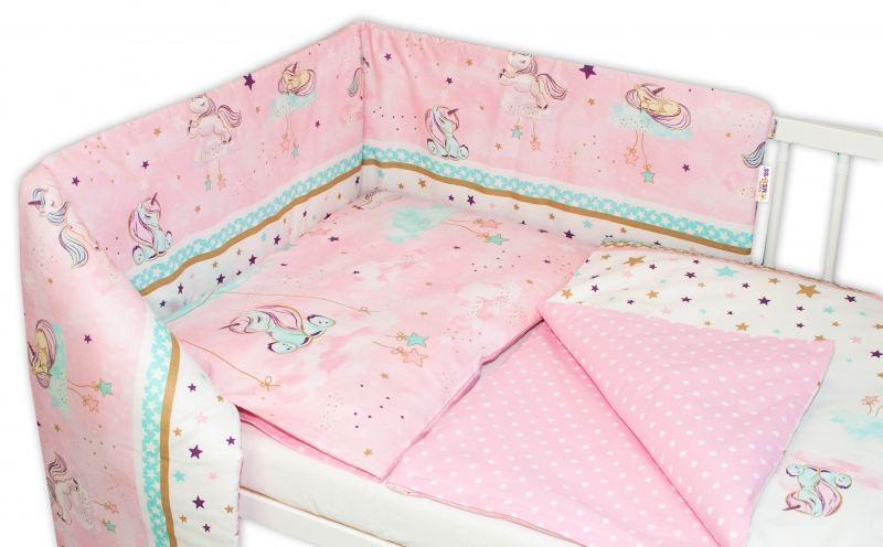 Baby Nellys 3-dílná sada - mantinel s povlečením Jednorožec - růžová, 135 x 100 cm