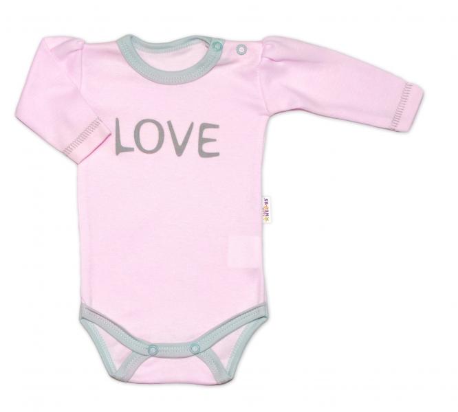 Baby Nellys Body dlouhý rukáv Love - růžové, vel. 62