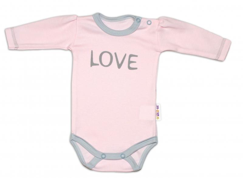 Baby Nellys Body dlouhý rukáv Love - růžové, vel. 74