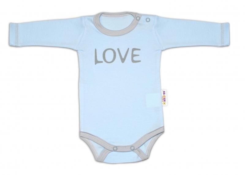 Baby Nellys Body dlouhý rukáv Love - modré, vel. 62