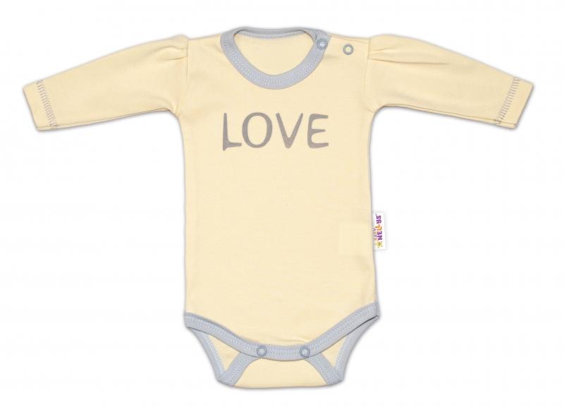 Baby Nellys Body dlouhý rukáv Love - žluté, vel. 56