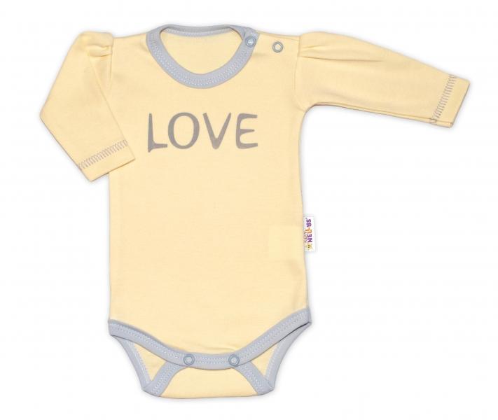 Baby Nellys Body dlouhý rukáv Love - žluté, vel. 68