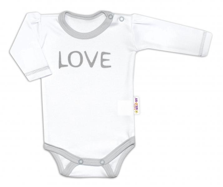 Baby Nellys Body dlouhý rukáv Love - bílé, vel. 56, Velikost: 56 (1-2m)