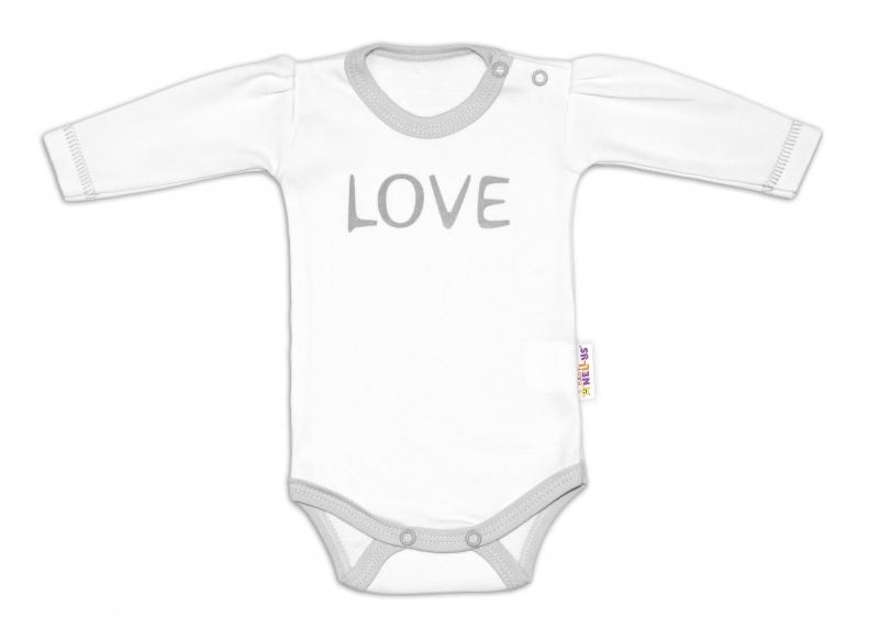 Baby Nellys Body dlouhý rukáv Love - bílé, vel. 68