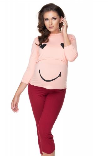 Be MaaMaa Těhotenské, kojící pyžamo 3/4 s dl. rukávem - růžovo/bordo, L/XL