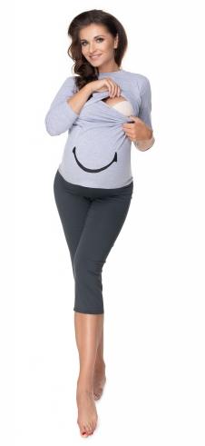 Be MaaMaa Těhotenské, kojící pyžamo 3/4 s dl. rukávem - šedá/grafit, L/XL