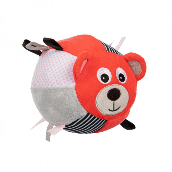 Canpol babies Plyšový edukační míček s rolničkou Medvídek - korálová
