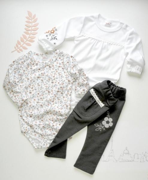 K-Baby Sada 2 x body dl. rukáv + 1 x tepláčky, Louka, bílá/květinky/šedá, vel. 74