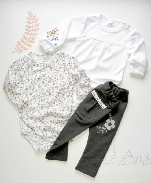 K-Baby Sada 2 x body dl. rukáv + 1 x tepláčky, Louka, bílá/květinky/šedá, vel. 86