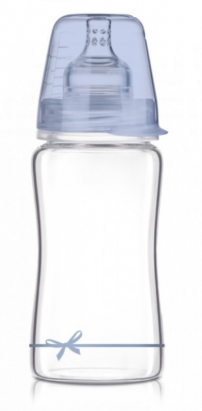 LOVI Skleněná lahvička 250 ml Diamond Glass - mašlička - modrá