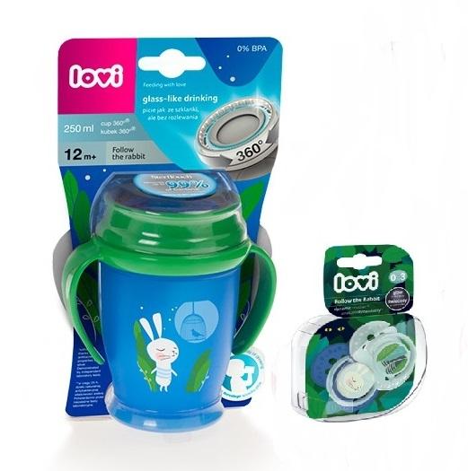 Lovi Kouzelný hrneček Junior 360° Zajíček 12m+ - modro/zelený + 2ks dudlíků