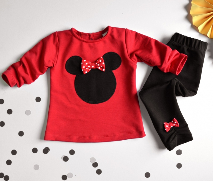 K-Baby Sada triko/mikinka + legíny Minnie - černá/červená, vel. 74