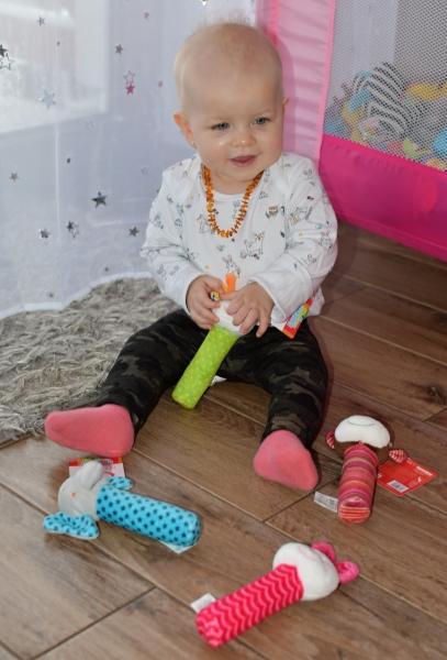 BOBA BABY Edukační plyšová hračka pískací  - kravička, 1 ks
