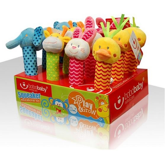 BOBA BABY Edukační plyšová hračka pískací  - slon, 1 ks