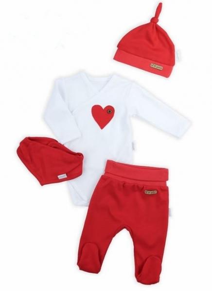 NICOL Sváteční komplet oblečení LOVE  - 4 dílný, červený, vel. 68