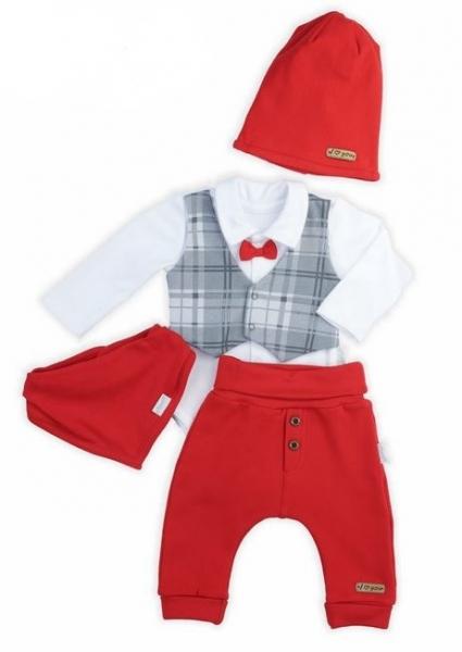 NICOL Sváteční komplet oblečení FOR BOY  - 4 dílný, červený, vel. 74