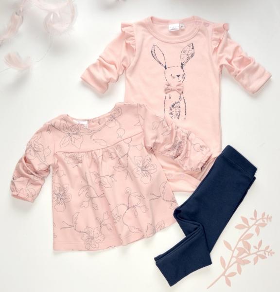 K-Baby 3 dílná sada - body dlouhý rukáv, triko, legíny KRÁLÍČEK - pudrově růžová, jeans