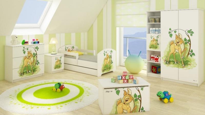 BabyBoo Dětská postel LUX s motivem Bambi, 140 x 70 cm + šuplík