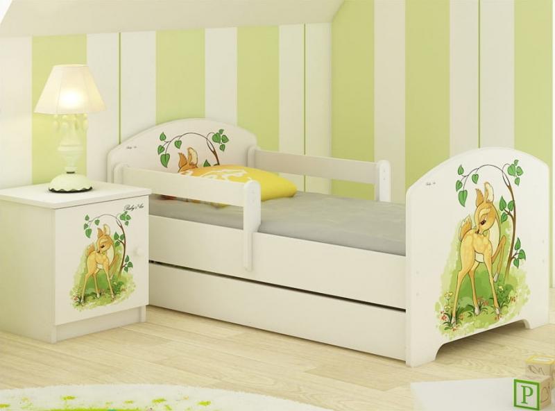 BabyBoo Dětská postel LUX s motivem Bambi, 160 x 80 cm + šuplík
