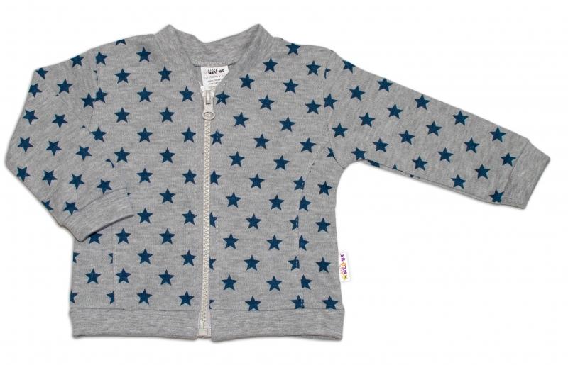 Bavlněná tepláková souprava Baby Nellys ® - Hvězdičky tm. modré/šedá, vel. 62