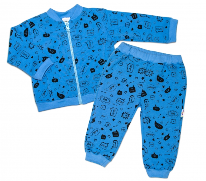 Bavlněná tepláková souprava Baby Nellys ® - Cool Baby, modrá, vel. 80