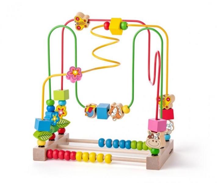 Woody Edukační dřevěná hračka, labyrint - Louka