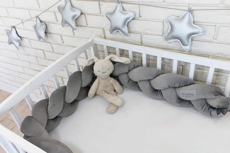 Mantinel Baby Nellys pletený cop velvet - tmavě šedý
