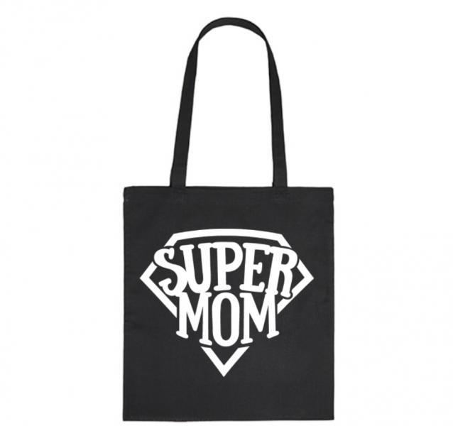 Bavlněná taška pro mámy Super Mom - černá