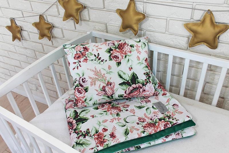 Baby Nellys 2-dílná sada do postýlky Velvet zelený, růže
