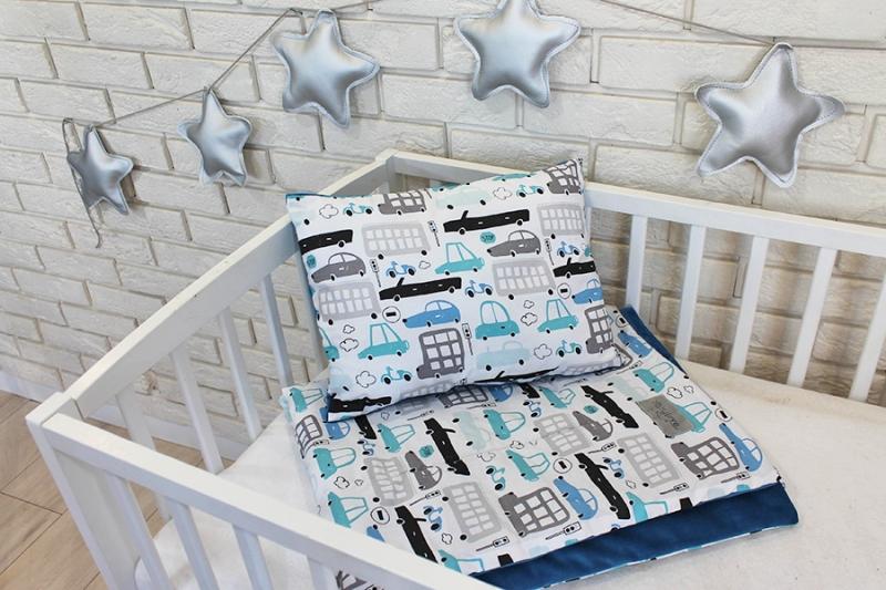 Baby Nellys 2-dílná sada do postýlky Velvet modrý, autíčka