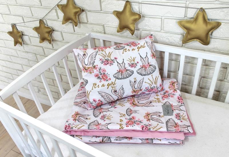 Baby Nellys 2-dílná sada do postýlky Velvet růžový, labutě korunka