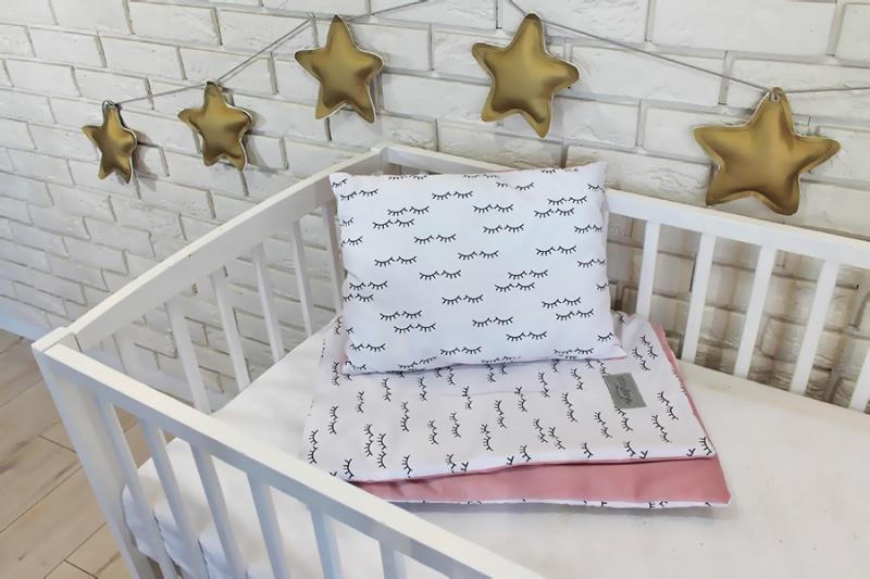 Baby Nellys 2-dílná sada do postýlky Velvet růžový, spící očka