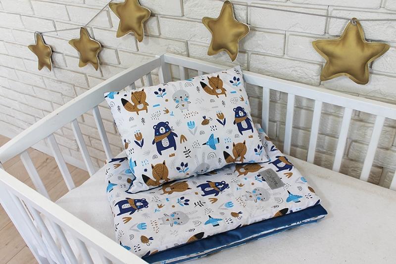 Baby Nellys 2-dílná sada do postýlky Velvet modrý, lesní zvířátka