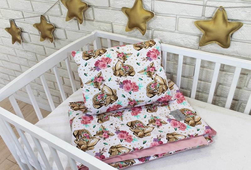 Baby Nellys 2-dílná sada do postýlky Velvet růžový, srnky/květiny