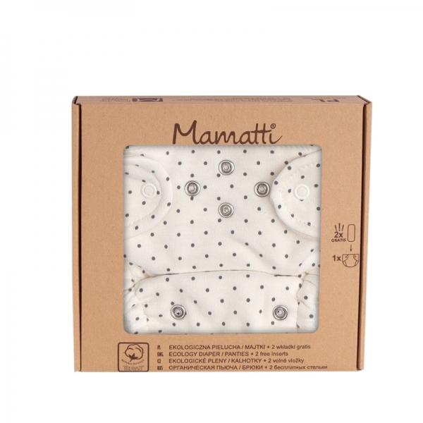 Mamatti Látková plenka EKO sada - kalhotky + 2 x plenka, vel. 5 - 14 kg, Dots