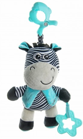 Baby Mix Plyšová závěsná hračka s melodií Zebra - modrá