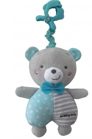 Baby Mix Plyšová závěsná hračka s melodií Medvídek - modrá