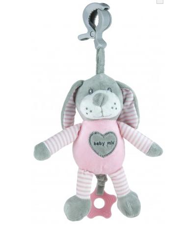 Baby Mix Plyšová závěsná hračka s melodií Pejsek - růžový