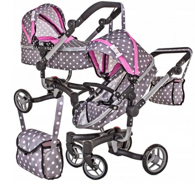 Moderní kočárek pro panenky 2 v 1 - růžovo,šedý, puntíky