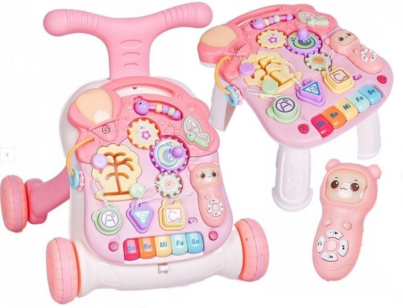 Dětské interaktivní chodítko 3 v 1 - růžové