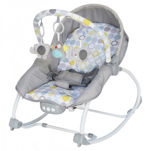 BABY MIX Lehátko pro kojence  s vibrací a hudbou - Bubble - šedé