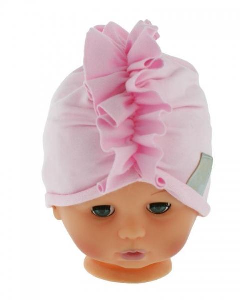 Baby Nellys Jarní/podzimní bavlněná čepice - turban, sv. růžová
