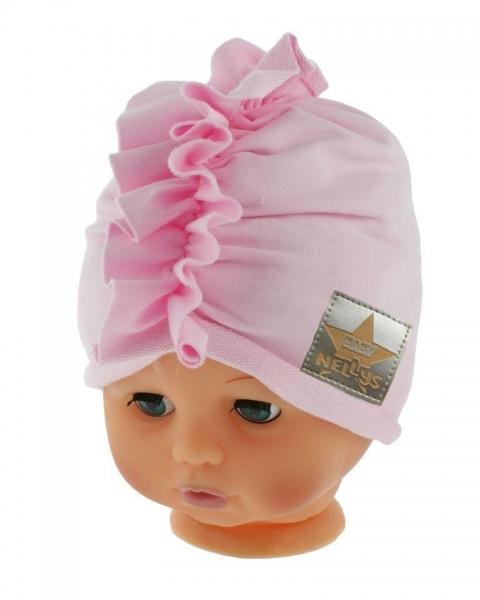 Baby Nellys Jarní/podzimní bavlněná čepice - turban, sv. růžová, obvod 44-48 cm, Velikost: 44/48 čepičky obvod